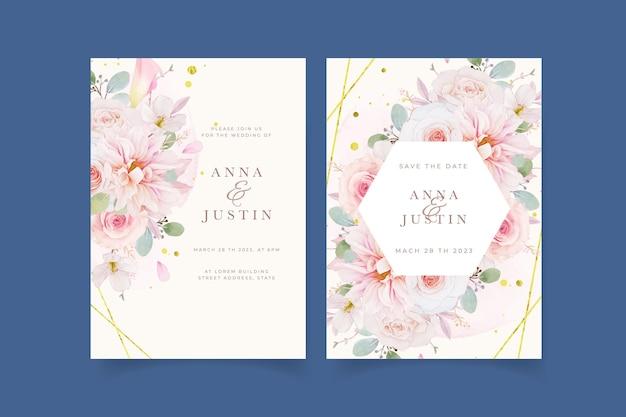 Huwelijksuitnodiging met aquarel roze rozen dahlia en leliebloem