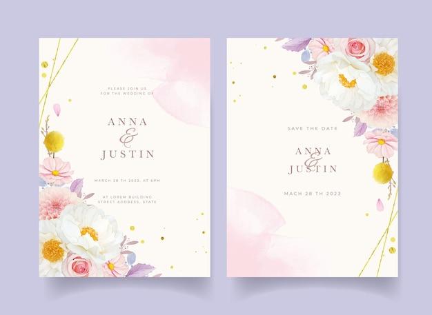 Huwelijksuitnodiging met aquarel roze rozen dahlia en pioenroos Gratis Vector