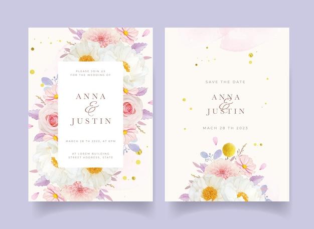 Huwelijksuitnodiging met aquarel roze rozen dahlia en pioenroos