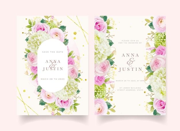 Huwelijksuitnodiging met aquarel roze rozen en hortensia