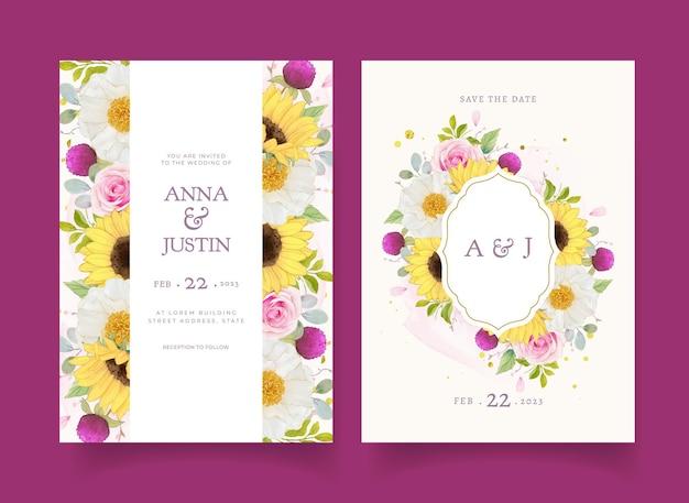 Huwelijksuitnodiging met aquarel roze rozen en zonnebloem