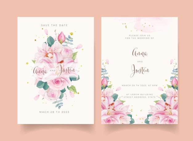 Huwelijksuitnodiging met aquarel roze rozen lelie en dahlia