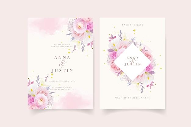 Huwelijksuitnodiging met aquarel roze rozenlelie en ranonkelbloem
