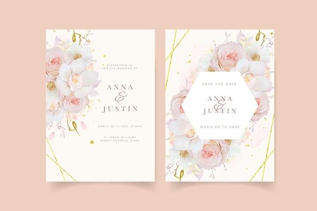 Huwelijksuitnodiging met aquarel roze rozenorchidee en anemoonbloem