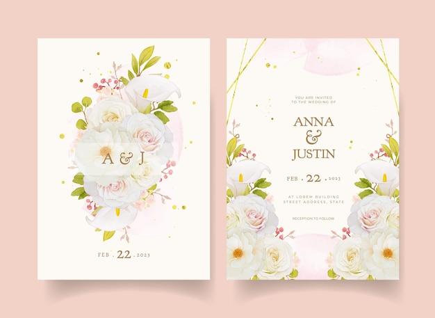 Huwelijksuitnodiging met aquarel witte rozen en calla lelie