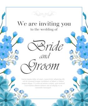 Huwelijksuitnodiging met blauw kader en vergeet-mij-nietjes.
