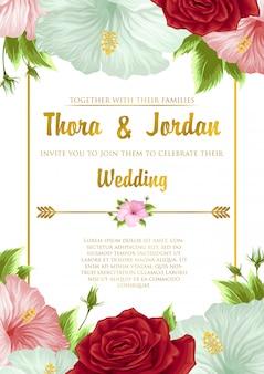 Huwelijksuitnodiging met bloem achtergrond sjabloonontwerp