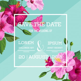 Huwelijksuitnodiging met bloemen. bewaar de datumkaart