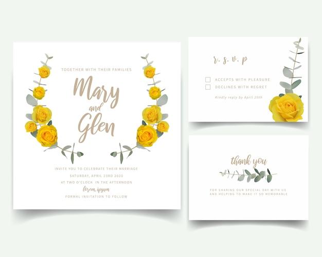 Huwelijksuitnodiging met bloemen gele rozen