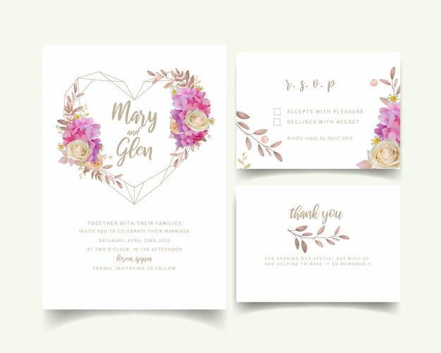 Huwelijksuitnodiging met bloemen roze hortensia en roze bloemen
