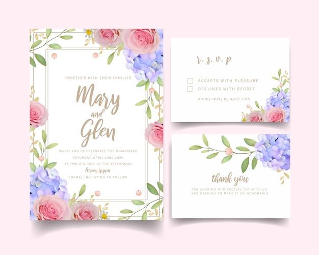 Huwelijksuitnodiging met bloemen roze rozen en hortensia