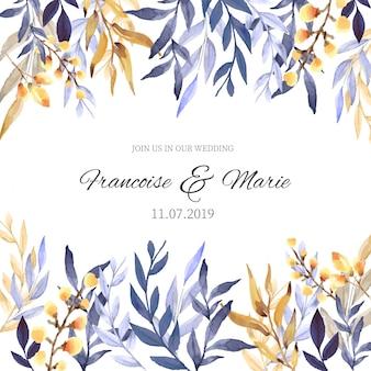 Huwelijksuitnodiging met bloemenachtergrond