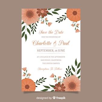 Huwelijksuitnodiging met bloemenelementen
