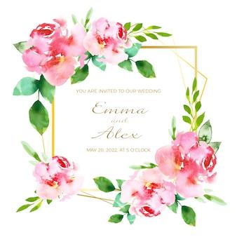 Huwelijksuitnodiging met bloemenframe concept