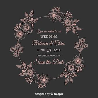 Huwelijksuitnodiging met bloemenkader