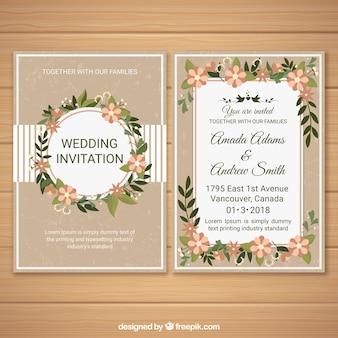Huwelijksuitnodiging met bloemenornamenten