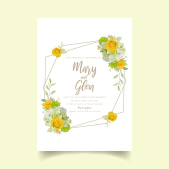Huwelijksuitnodiging met bloemenrozen en hortensia