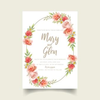 Huwelijksuitnodiging met bloemenrozen