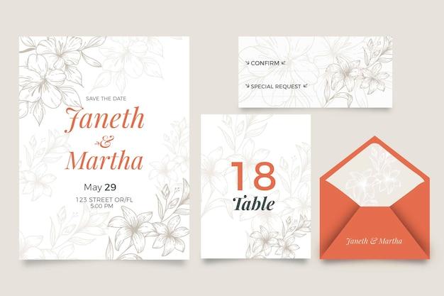 Huwelijksuitnodiging met bloemenstijl