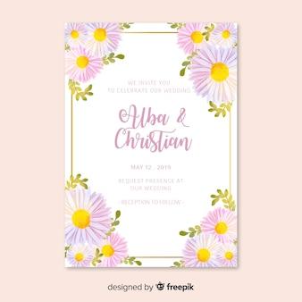 Huwelijksuitnodiging met bloementhema