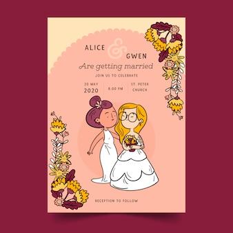 Huwelijksuitnodiging met cartoon paar