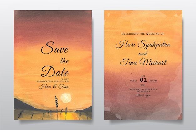 Huwelijksuitnodiging met de hemel van het waterverflandschap en zonsondergangmeer