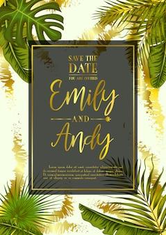 Huwelijksuitnodiging met exotische tropische bladerenachtergrond
