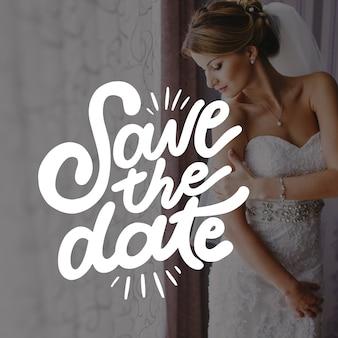 Huwelijksuitnodiging met fotoontwerp
