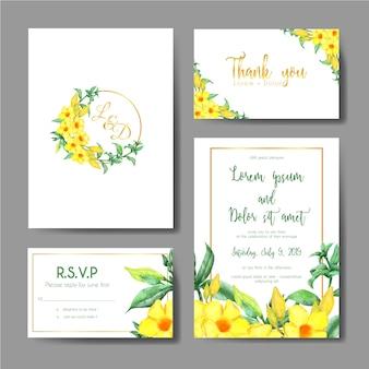 Huwelijksuitnodiging met geel klokbloemgoud dat wordt geplaatst