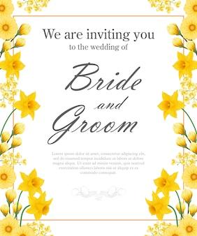 Huwelijksuitnodiging met gele gele narcissen en gerberas.