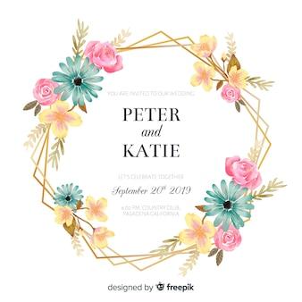Huwelijksuitnodiging met gouden bloemenframe