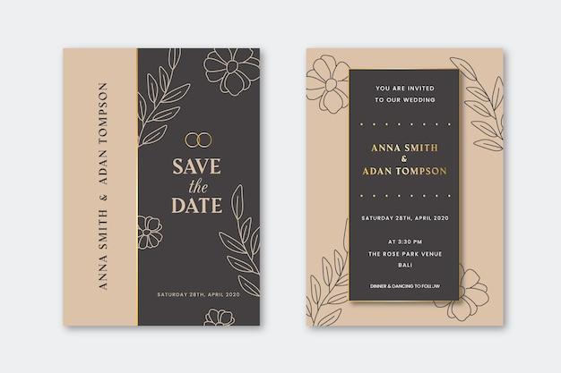Huwelijksuitnodiging met gouden overzichtsbloemen