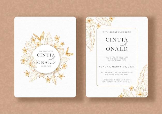 Huwelijksuitnodiging met gouden tropische bloemenlijntekeningen