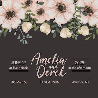 Huwelijksuitnodiging met kleurrijke bloem.