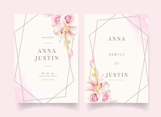 Huwelijksuitnodiging met lelie van waterverf roze rozen en calla lelie