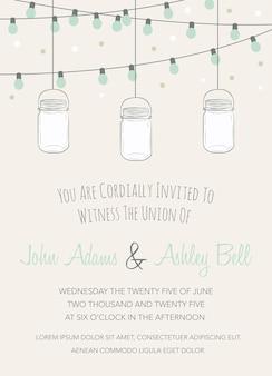 Huwelijksuitnodiging met mason jar en lichtslingers