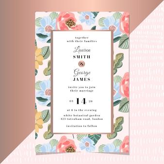 Huwelijksuitnodiging met moderne bloemenachtergrond