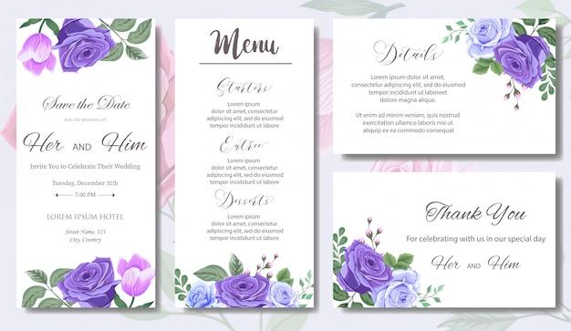 Huwelijksuitnodiging met mooie bloemen en bladeren