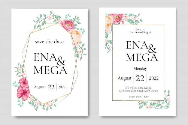 Huwelijksuitnodiging met mooie bloemenbladeren dat wordt geplaatst