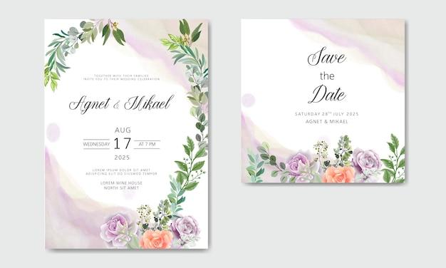 Huwelijksuitnodiging met mooie en elegante bloemen