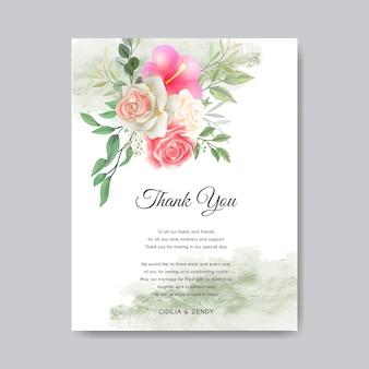 Huwelijksuitnodiging met mooie en romantische bloemen