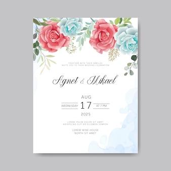 Huwelijksuitnodiging met mooie flowerss