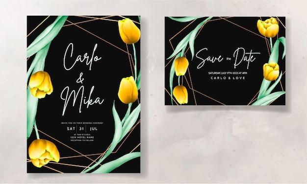 Huwelijksuitnodiging met mooie gele aquarel tulpenbloem