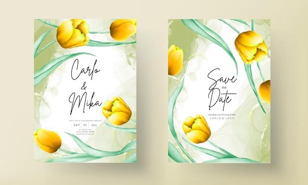 Huwelijksuitnodiging met mooie gele aquarel tulpenbloem Gratis Vector