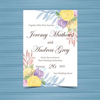 Huwelijksuitnodiging met mooie gele en paarse rozen
