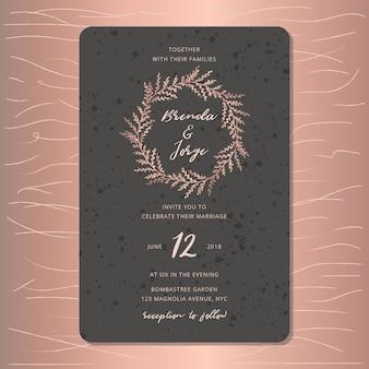 Huwelijksuitnodiging met mooie roze gouden bladerenkroon