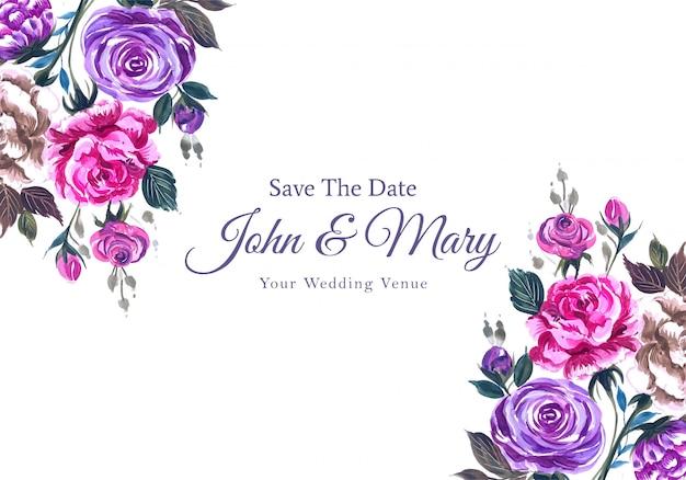 Huwelijksuitnodiging met mooie waterverfbloemen