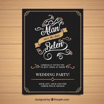 Huwelijksuitnodiging met ornamenten in uitstekende stijl