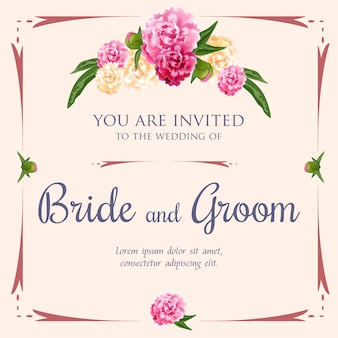 Huwelijksuitnodiging met pioenen en kader op roze achtergrond.