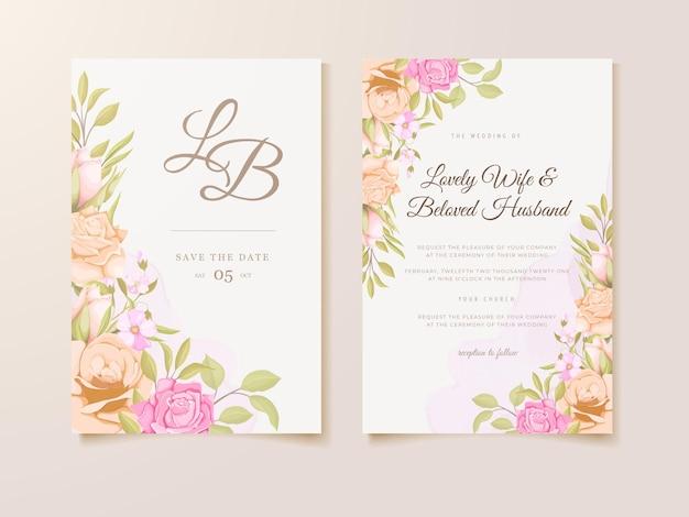 Huwelijksuitnodiging met prachtig bloemen sjabloonontwerp